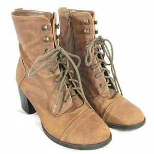 Madden Girl Wispyy Lace Up Zip Stacked Heel Boots